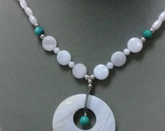 Mother of Pearl and Turquoise Necklace - Free Shipping