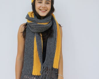 Hand-Knitted Charcoal And Mustard Scarf Hat Warm Set / PomPom Hat Fringe Long Scarf / outdoors gift / Clothing Gift / Christmas gift