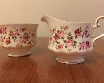 Vintage Queen Anne Made in England Cascade Roses Creamer and Sugar Bowl