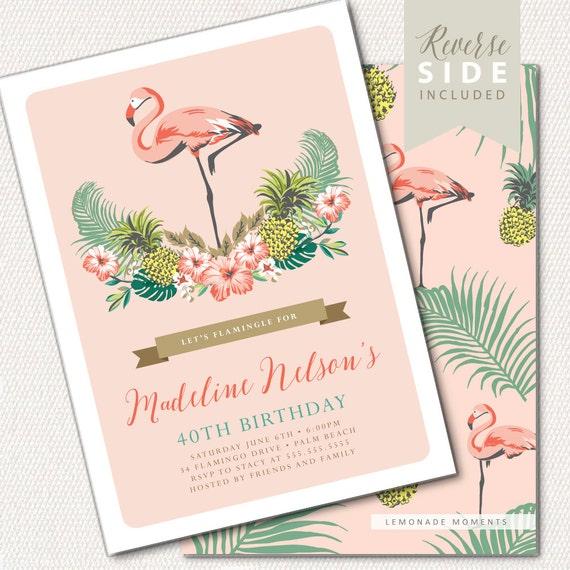 Luau Birthday Invitation Flamingo Birthday Invitation