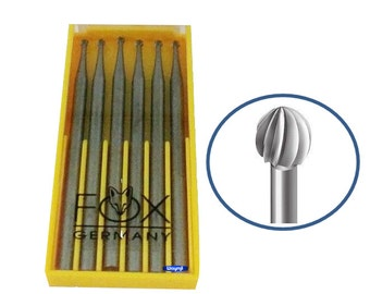 Fox Round Bur Set 005 mm 6 Pcs Vanadium Steel Jewelry Shaping Tool Made In Germany WA 360-001-005