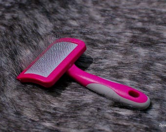 Pink Plastic Small Faux Fur Brush With Wire Bristles