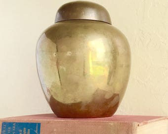 Timeless Vintage Brass Urn Jar Large with Lid Hollywood Regency Farmhouse Style Patina Rustic Chic Classic