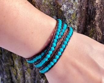 Turquoise Wrap Bracelet - Adjustable Sizing - Triple Wrap Bracelet - Boho Jewelry