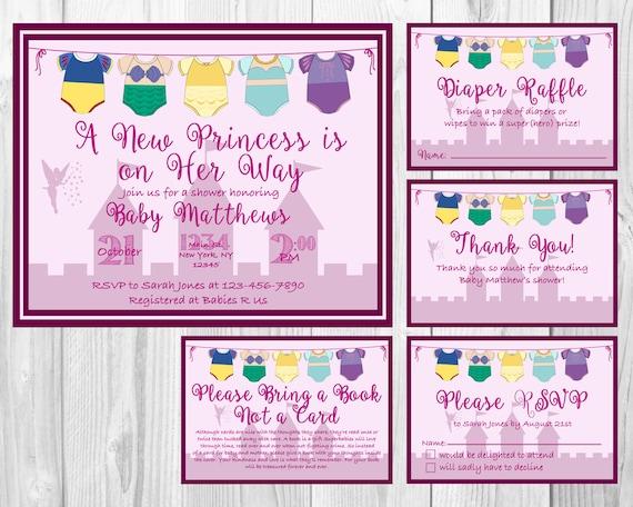 Charming Disney Princess Baby Shower Invitation RSVP Cards Book