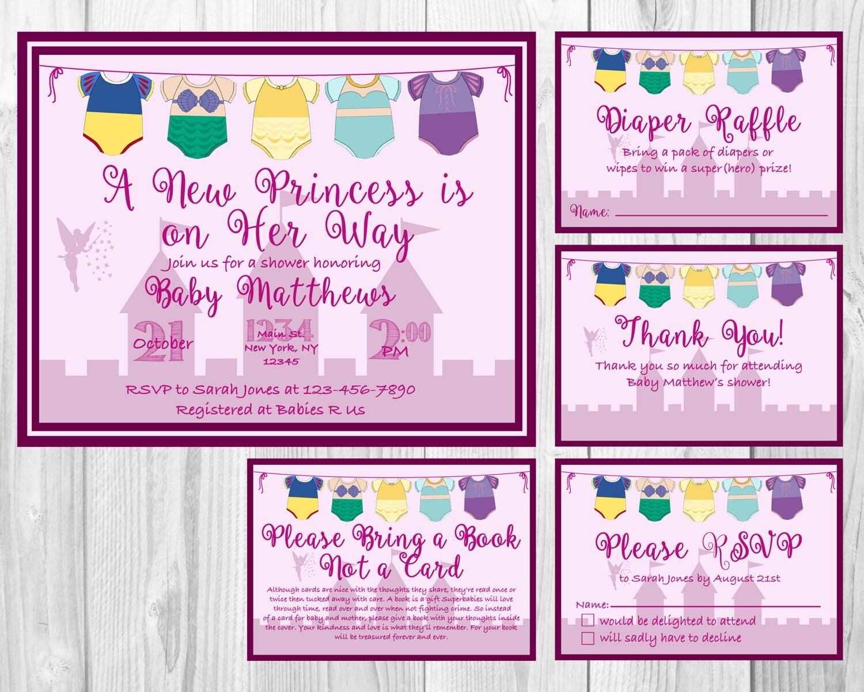 Disney Princess Baby Shower Invitation RSVP Cards Book