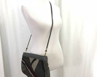 Vintage 80s Gray Leather PAtchwork Crossbody Clutch Purse
