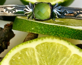 Lime Green Chalcedony Hand-Stamped Cuff Bracelet