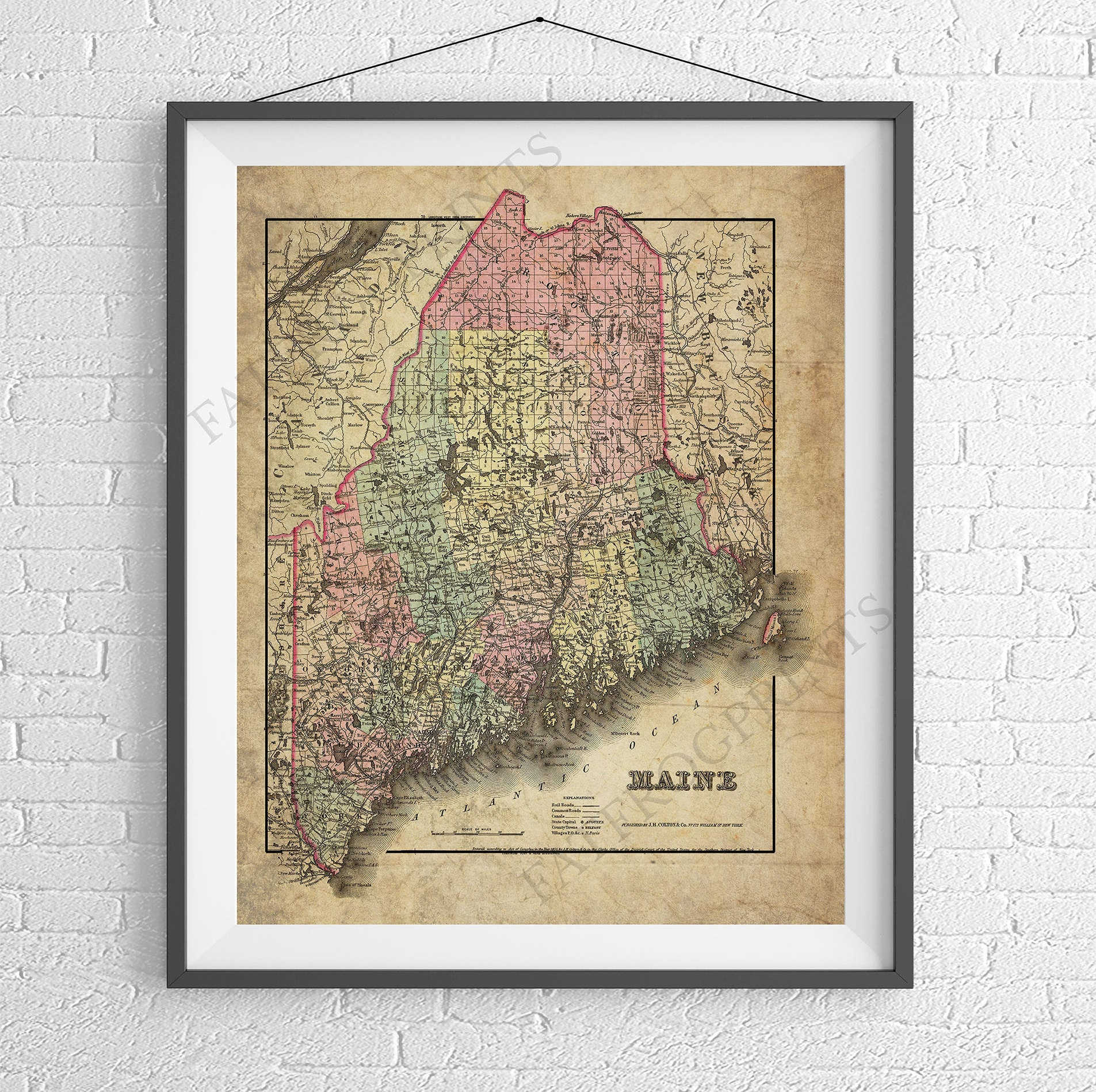 Maine Map Print Maine Art Maine Gifts Maine Map Art Vintage - Antique map of maine