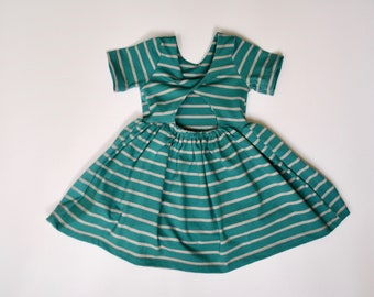 Summer dress, 18-24 months, ready to ship, toddler dress, baby dress, dress with back detail, turquoise, Easter dress