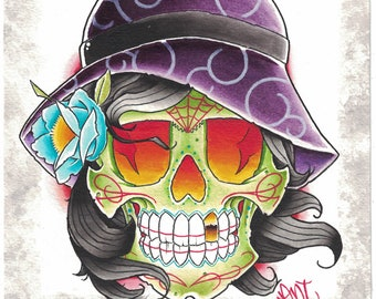 skull painting watercolor day of the dead dia de los muertos sugar skull art print