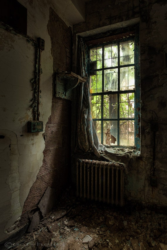 Draped Abandoned Asylum Old Curtain By Window Fine Art