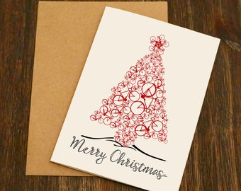 Bike Christmas Tree Blank Greeting Card - Bike Gift - Cycling Christmas Card - Cyclist - Blank - Bike Christmas -Cycling Gift
