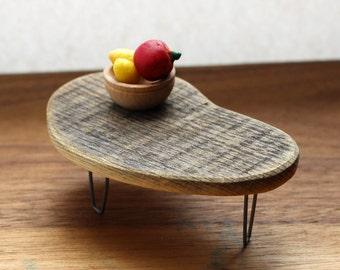Weathered Plywood Boomerang Table - Mid Century Modern Miniature