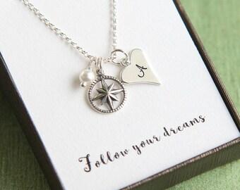 Journey Necklace, College Graduation, Graduation Gift, Gift for Graduation, Personalized Graduation, Compass Necklace, Follow your dreams