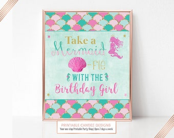 Pink Mermaid Birthday Party sign Seflie Shellfie Candy Table Art Decor Printable 8x10 Instant Download