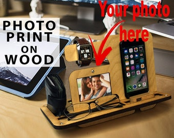 Nightstand Gift|Wooden Phone Stand|Phone Charging Dock|Wood Docking Station|Personalized Phone Stand|Phone organizer|iPhone|Gift for him