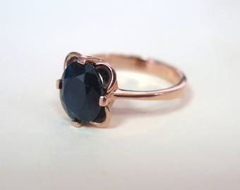 Unique Sapphire Ring, 14K Gold Ring, September Birthstone, Sapphire Jewelry, Blue Sapphire Ring, Rose Gold Sapphire,,, Mothers Day Sale