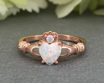 Heart White Fire Opal Claddagh Ring October Birthstone Ring Rose Gold Sterling Silver Simulated Diamond Irish Claddagh Promise Ring
