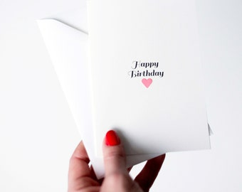 Happy Birthday card with pink heart