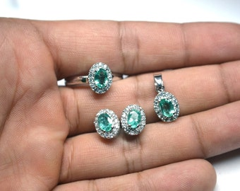 92.5 Sterling Silver 4x6MM Natural Zambian Emerald Oval Pendant,Ring,Studs,Bridemaid Set/Gift/Bridemaid Gift/Girlfriend/Gift/(No-50)