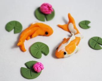 2 Handmade Miniature Koi with Lily Pads, Miniatures, Fairy Gardens. Miniature Landscapes, Miniature Koi Pond