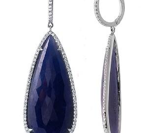 Luxo Jewelry Rose Cut Sliced 49ct Blue Sapphire 1.00 Ct Diamonds 14k Gold Earrings