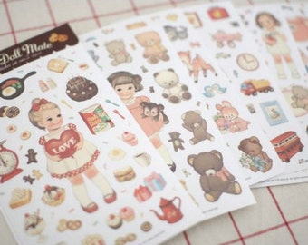 Paper Deco Sticker Set - Paper Doll Mate - ver. 2 - 6 Sheets