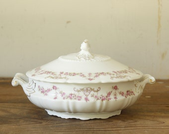 Vintage Fine China Covered Dish Tureen Serving Bowl with Lid Serving Bowl