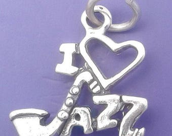 I LOVE JAZZ Charm .925 Sterling Silver Musician Music Pendant - t01472