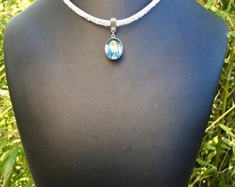 Swarovski pendant leather Choker necklace