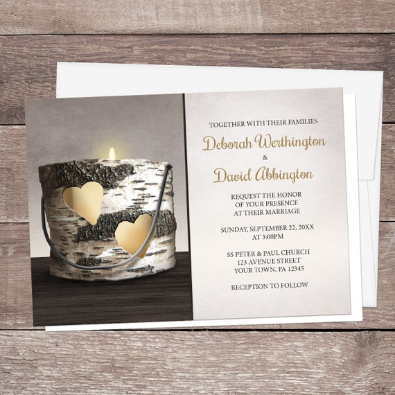 Wedding Invitation Candles: Rustic Candle Wedding Invitations And RSVP Cards Country