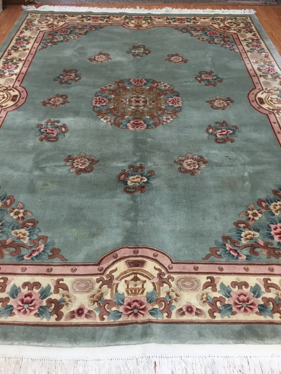 """8'4"""" x 11'2"""" Chinese Aubusson Oriental Rug - Full Pile - Hand Made - 100% Wool"""