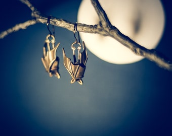 Precious Handmade Sleeping Bat Earrings In Solid Sterling Silver, Gold, or Bronze