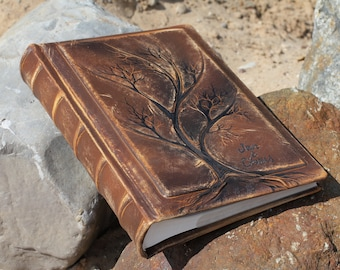 Leather photo album 13 x 9  with Tree of Life for 300 photos with custom engraving leather anniversary gift
