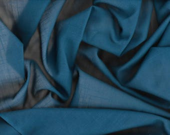 Sheer Teal Blue Faux Linen Fabric Almost 3 Yards