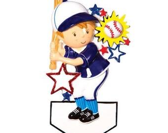 Personalized Baseball Player Christmas Ornament