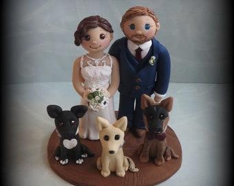 Wedding Cake Topper, Custom Wedding Topper, Bride and Groom, Three Pets, Personalized, Polymer Clay, Keepsake
