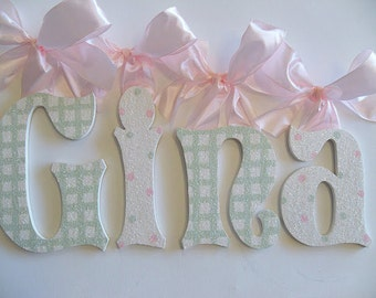 GLITTER and SPARKLE custom hand painted wooden wall letters, baby nursery wall letters