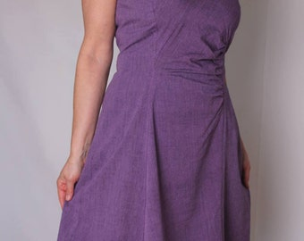 Organic summerdress in purple organic cotton bamboo fabric