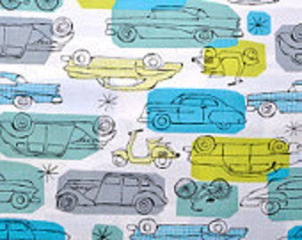 SALE Monaluna Havana Cars half yard 100% Organic Cotton from Monaluna