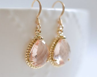 Bridesmaid Jewelry Peach Champagne Teardrop Wedding Earrings in Gold