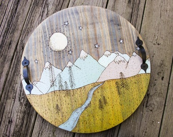 Rustic Wooden Serving Tray - Cabin Decor - Serving Tray - Breakfast Tray - Ottoman Tray - Drink Tray- Mountains - Rustic Tray