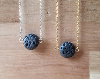 Flat Lava Rock Aromatherapy Necklace // Essential Oil Diffuser Necklace // Lava Stone Necklace // Minimalist Necklace // Layering Necklace