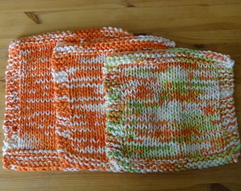 Hand Knit Cotton Dish Cloths in Poppy Orange and White