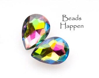 14x10mm Pear Vitrail Medium Glass Jewels, 14x10mm Pears, 14x10 Pears, Gems, Jewels, Stones, (M1-5-1), Qty 2