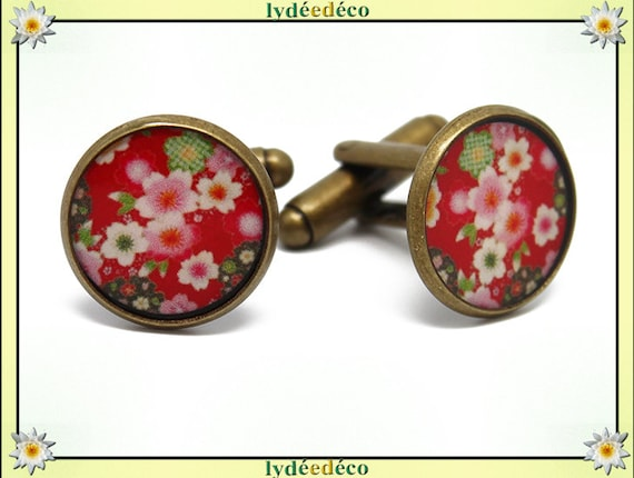 2 button cuffs retro Japan brass cherry blossom pink green red resin bronze 14mm master thank you for father's day birthday gift