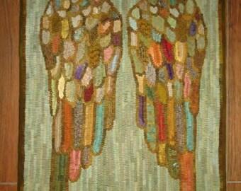 ANGEL WINGS rug hooking pattern on primitive linen