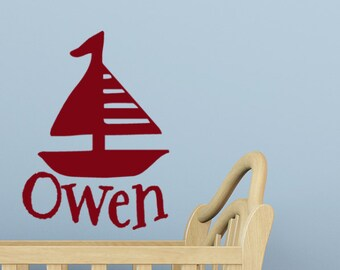 Nautical Nursery Decor, Sail Boat wall decal, Monogram wall decal, Name stickers, Boat decorations, Beach wall decal, Beach decor, Large