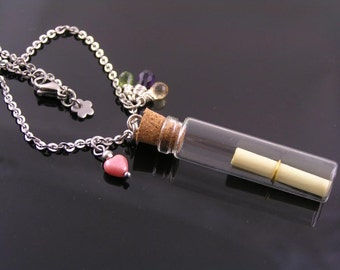 Message in a Bottle, Necklace with Amethyst, Citrine and Peridot, Love Letter Necklace, Gift Idea, Gem Necklace, Gem Jewelry, N1834